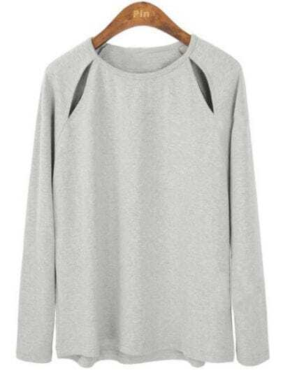Grey Long Sleeve Shoulder Hollow Cotton T-Shirt
