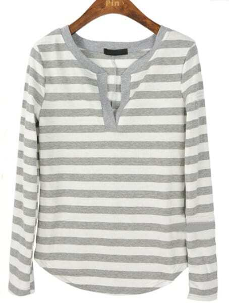 White Grey Striped Long Sleeve Elasic T-Shirt -SheIn(Sheinside)