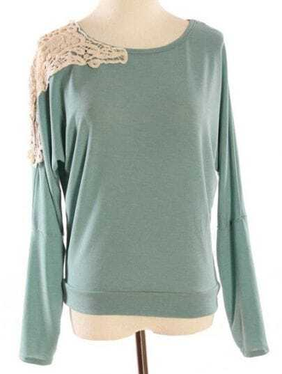 Green Long Sleeve Shoulder Lace Embroidery T-Shirt