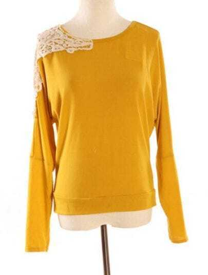 Yellow Long Sleeve Shoulder Lace Embroidery T-Shirt