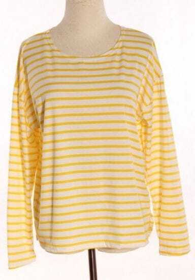 Yellow White Striped Long Sleeve Loose T-Shirt -SheIn(Sheinside)