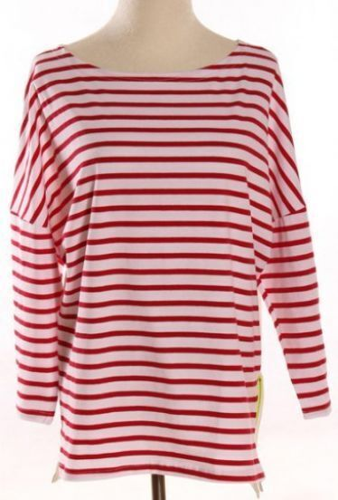 Red White Striped Side Zipper Loose T-Shirt -SheIn(Sheinside)