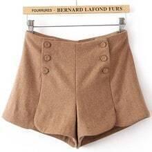 Khaki Pocket Buttons Embellished Shorts
