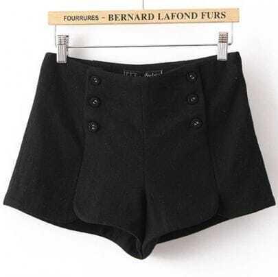 Black Pocket Buttons Embellished Shorts