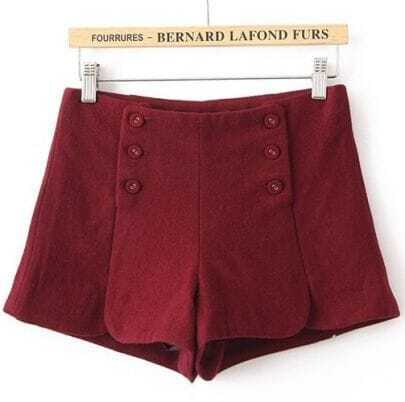 Red Pocket Buttons Embellished Shorts