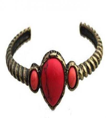 Red Gemstone Gold Cuff Bracelet