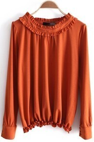 Orange Round Neck Long Sleeve Elasic Trims Blouse