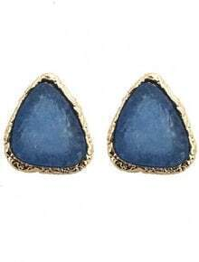 Dark Blue Gemstone Gold Stud Earrings