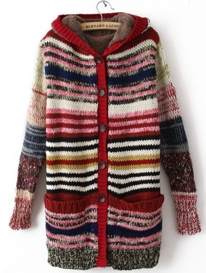 Pink Hooded Long Sleeve Striped Coat
