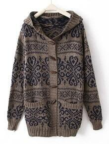 Blue Red Hooded Long Sleeve Tribal Print Cardigan Coat