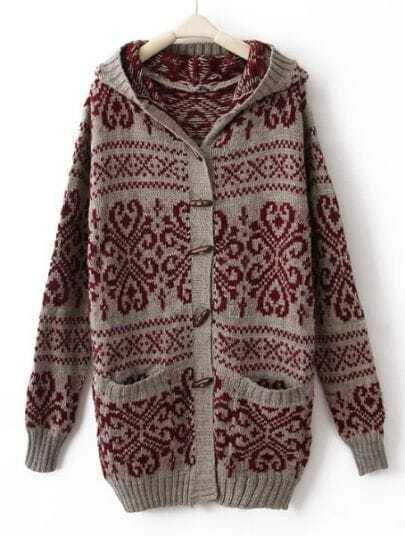 Khaki Red Hooded Long Sleeve Tribal Print Cardigan Coat