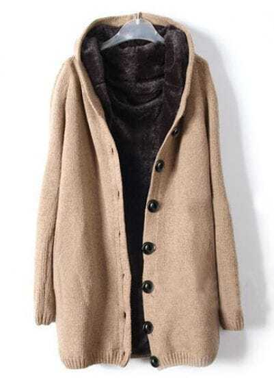 Khaki Hooded Long Sleeve Single Breasted Loose Coat