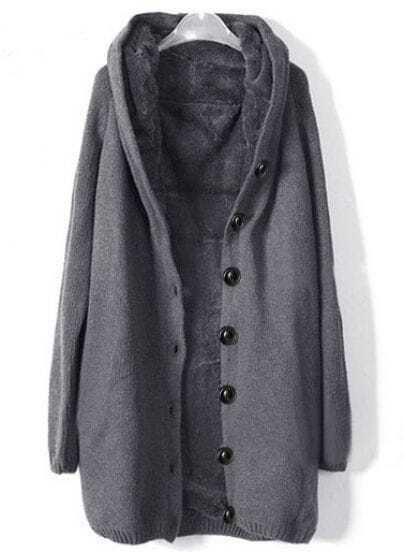 Grey Hooded Long Sleeve Single Breasted Loose Coat