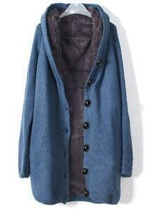 Blue Hooded Long Sleeve Single Breasted Loose Coat