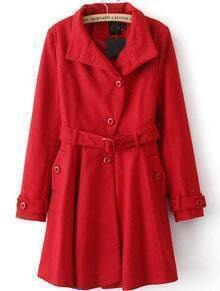 Red Long Sleeve Drawstring Waist Trench Coat