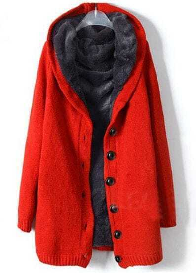 Red Hooded Long Sleeve Single Breasted Loose Coat