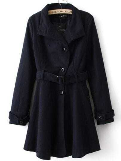 Navy Long Sleeve Drawstring Waist Trench Coat