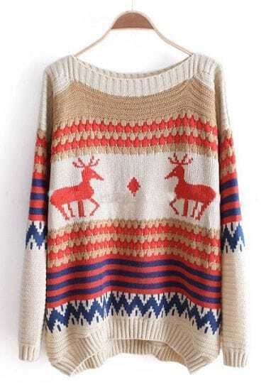 Beige and Khaki Striped Deer Boat Neck Sweater
