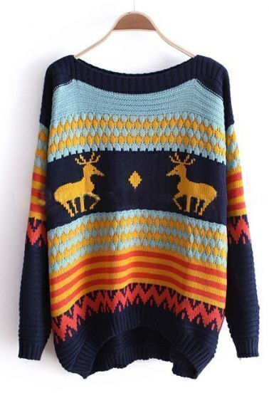 Navy and Blue Striped Deer Boat Neck Sweater