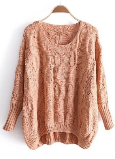 Pink Long Sleeve Asymmetrical Pullovers Sweater