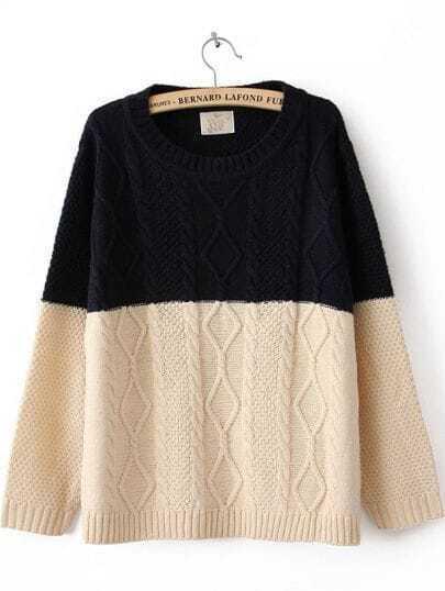 Navy Beige Long Sleeve Serratula Pullovers Sweater