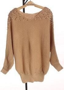 Apricot Batwing Long Sleeve Shoulder Pearls Sweater