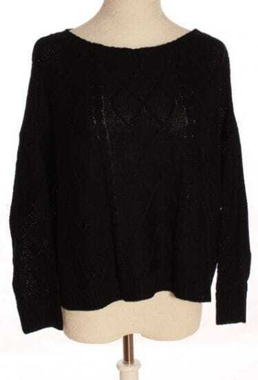 Black Batwing Long Sleeve Rhombus Embroidery Sweater