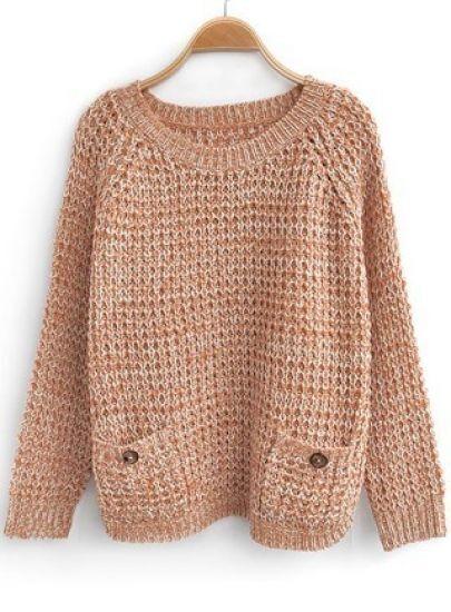 Orange Batwing Long Sleeve Pockets Embellished Sweater