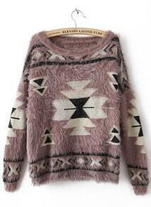 Khaki Long Sleeve Geometric Print Mohair Sweater