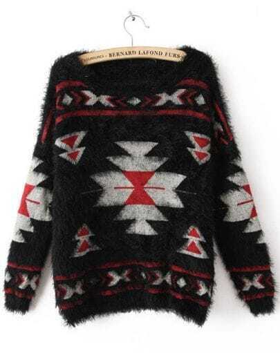 Black Long Sleeve Geometric Print Mohair Sweater