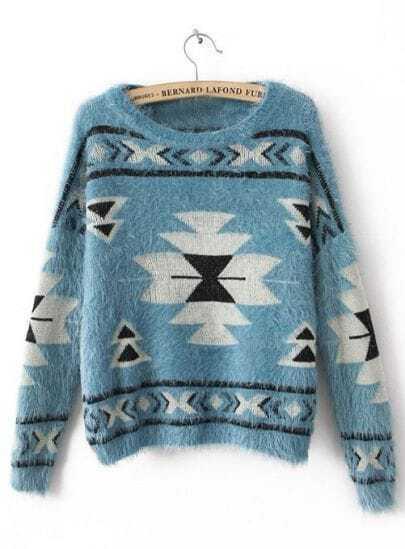 Blue Long Sleeve Geometric Print Mohair Sweater