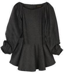 Grey Long Sleeve High Waist Zipper Pleated Dress