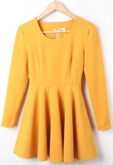 Yellow Round Neck Long Sleeve Ruffles Pleated Dress -SheIn(Sheinside)
