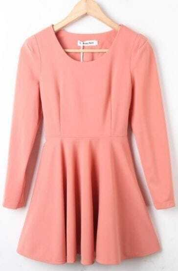 Pink Round Neck Long Sleeve Ruffles Pleated Dress