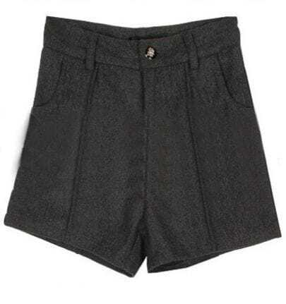 Grey High Waist Button Pockets Tweed Shorts