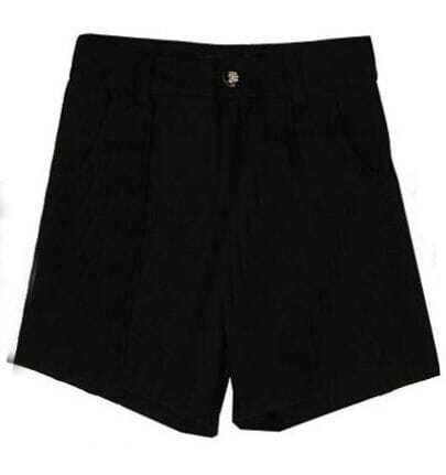 Black High Waist Button Pockets Tweed Shorts