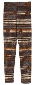 Brown Mid Waist Elasic Skinny Striped Leggings