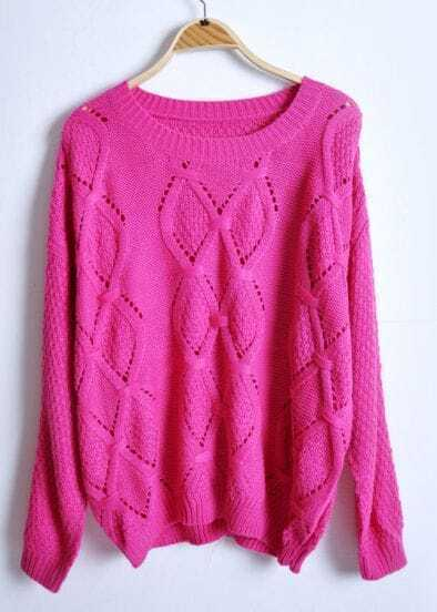 Rose Red Long Sleeve Rhombus Hollow Pullovers Sweater