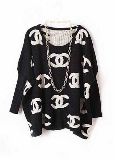 Black Batwing Long Sleeve Double C Print Sweater
