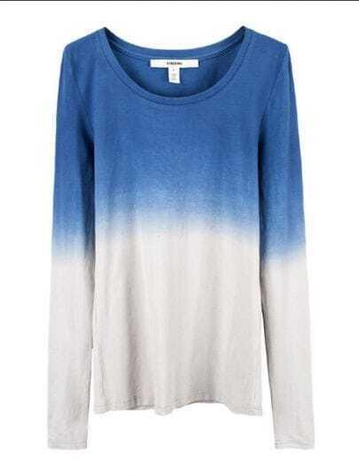 Blue Grey Round Neck Long Sleeve T-Shirt