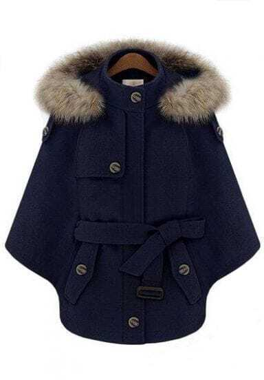Navy Fur Hooded Batwing Sleeve Cape Coat