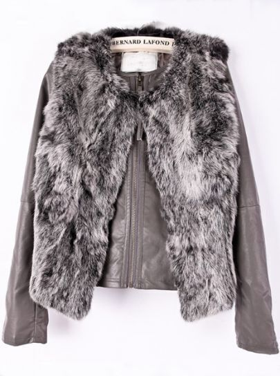 Grey Long Sleeve Zipper Fur Vest Two Pieces Coat