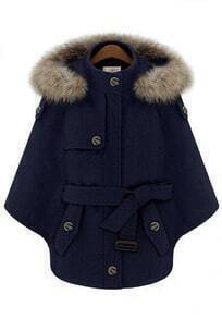 Navy Fur Hooded Batwing Sleeve Cape Coat