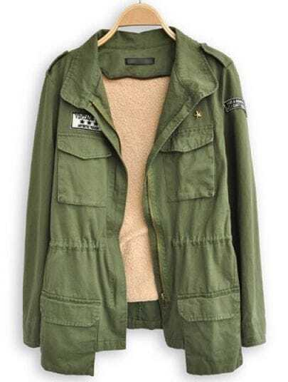Green Lapel Long Sleeve Epaulet Pockets Trench Coat