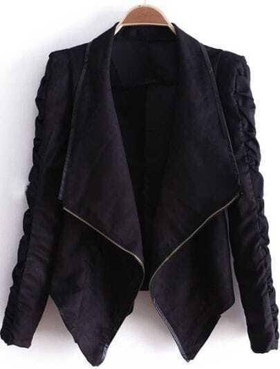 Black Lapel Long Sleeve Zipper Drawstring Crop Coat