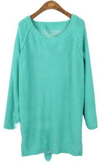 Turquoise Long Sleeve Hollow Backless Loose Sweater