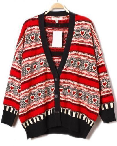 Red Long Sleeve Tribal Print Cardigan Sweater