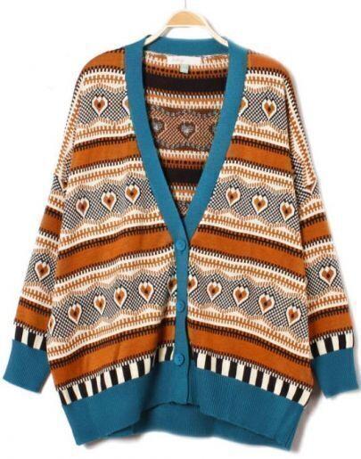 Coffee Long Sleeve Tribal Print Cardigan Sweater