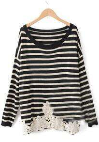 Black Long Sleeve Striped Hollow Embroidery Sweater