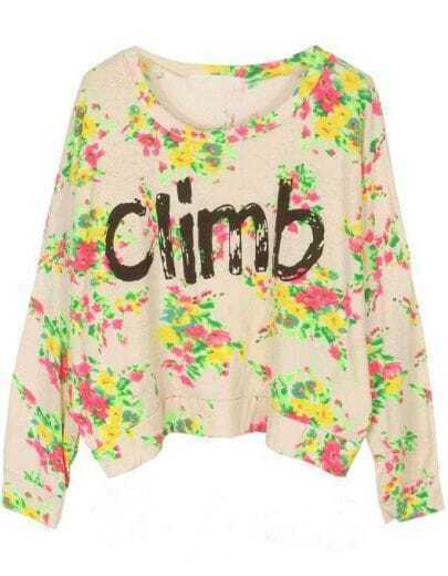 White Long Sleeve Floral Climb Print Sweatshirt